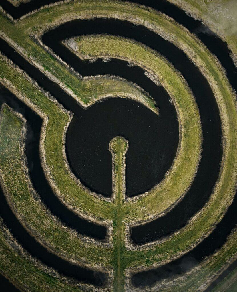 """About DKC   image: """"maze"""" of water and land"""